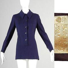 M Vintage 1970s 70s Pendleton Blue Tunic Top Shirt Pull Over Boho Hippie Mod