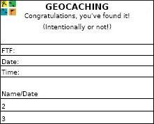 2.5 inch FTF Geocaching Log Sheet with black logo