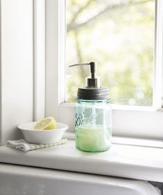 Repurpose the classic Mason jar as a soap or lotion dispenser in your bathroom.