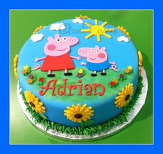 Tarta Fondant Peppa Pig Peppa Pig Birthday Cake, Birthday Cake Girls, Fondant Cakes, Cupcake Cakes, Cake & Co, Pig Party, Birthday Cake Decorating, Cake Pictures, Bakery Cakes