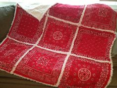 Red Bandana Rag Quilt Picnic Blanket by ZeedleBeez on Etsy
