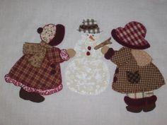 Dos muñecas sunbonnet con muñeco de nieve - artesanum com