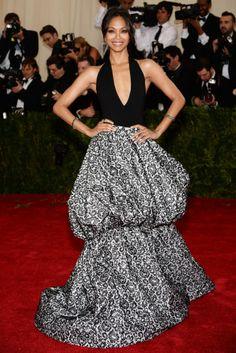 2014 MET Gala Zoe Saldana in a Michael Kors..This will look nice in an African fabric..