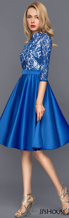 A-Line/Princess High Neck Knee-Length Satin Cocktail Dress With Beading#JJsHouse #Cocktail dresses