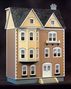Real Good Toys East Side Townhouse 1 Inch Scale Dollhouse - Collector Dollhouse Kits at Hayneedle Wooden Dollhouse Kits, Dollhouse Furniture, Dollhouse Miniatures, Antique Dollhouse, Diy Dollhouse, Kids Doll House, Doll House Plans, Doll Houses For Sale, Real Good Toys