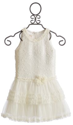 Isobella and Chloe Girls Ivory Tutu Party Dress (58.00) skirt detail with ruffled tulle