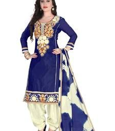 Buy Blue chanderi embroidered semi stitched salwar with dupatta punjabi-suit online