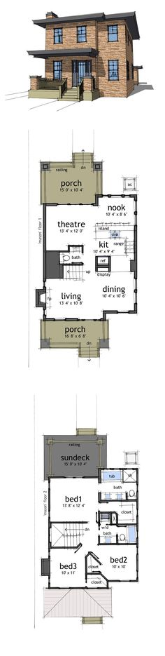Modern House Plan 67581 | Total Living Area: 1586 sq. ft., 3 bedrooms & 2.5 bathrooms. A modern craftsman, this plan is designed for a small lot. It provides all the comforts of a larger home in a small, comfortable space. #houseplan #modernplan