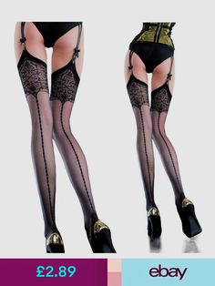 Fiore Edvige Stockings Back Seam with Patterned Top Stockings 20 Denier S M L Sexy Legs And Heels, Socks And Heels, Stockings And Suspenders, Sexy Stockings, Women With Beautiful Legs, Gorgeous Lingerie, Stocking Tights, Long Sleeve Bodysuit, Bra Lingerie