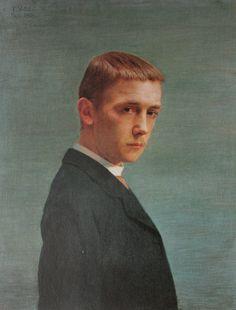 """Félix Vallotton """"Autoportrait à l'âge de vingt ans"""" (1885) - Musée cantonal des Beaux-Arts de Lausanne, Switzerland."""