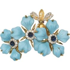 Vintage JOMAZ Turquoise Flowers and Bee Brooch Pin
