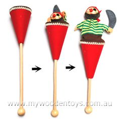 Pop Up Pirate Wooden Cone Puppet