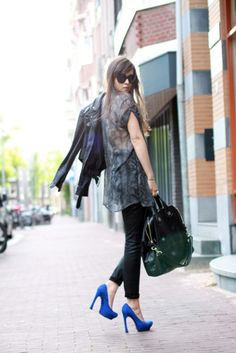 the givenchy bag is adorable and also the blue pumps.