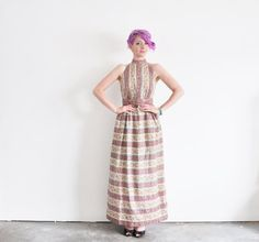 1970 backless floral maxi dress . summer bridesmaid . by DOTTO