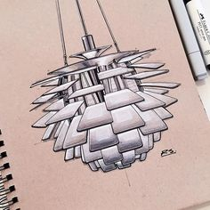 Poul Henningsen's 1958 PH Artichoke lamp for Louis Poulsen. Thank you @why08 for the suggestion, you and @bautiav will be receiving @strathmoreart toned tan sketchbooks in the mail soon. #louispoulsen #phartichoke #lighting #ID #industrialdesign #productdesign #idsketching #sketch #sketching #sketchbook #sketchaday #drawing #design #art #instaart @louispoulsen