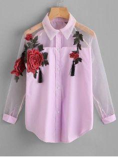 #RoseGal.com - #RoseGal Flower Embroidered See Through Shirt - AdoreWe.com