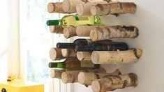 Porte bouteilles en troncs de bouleau
