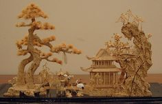 This antique Chinese bamboo diorama carving depicts the Daoist Paradise.