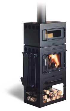 Hwam Classic 4 Wood In Black With Cooking Section. Wood Stoves, Wood Burning  ...