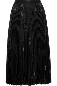 Diane von Furstenberg   Heavyn pleated metallic crepe skirt   NET-A-PORTER.COM