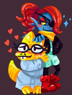 Undyne and Alphys printed art by Aguichan on Etsy https://www.etsy.com/listing/254384431/undyne-and-alphys-printed-art