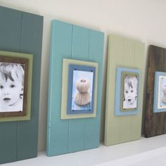 Cottage style plank frames - cute way to display photos.