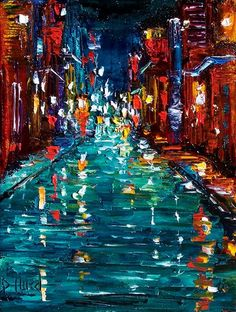Debra Hurd Original Paintings AND Jazz Art: New Orleans art painting cityscape by Debra Hurd