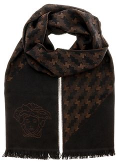 388a49d8 Versace IT00637 100% Wool Mens Scarf Houndstooth, Dark Brown, Versace, Wool,