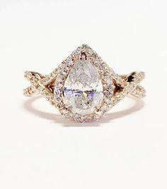 1.25CT Diamond Pear Shaped Halo Criss Cross Engagement Ring