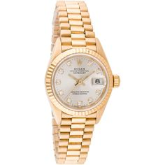 Pre-owned Rolex Oyster Perpetual Lady President Watch (29.975 BRL) ❤ liked on Polyvore featuring jewelry, watches, gold jewelry, gold tone watches, gold watches, pre owned watches and preowned watches