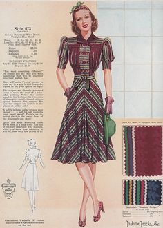 1940s Fashion Advice for Tall Women. Diagonal or horizontal stripes are great patterns on tall women. The dark collar also helps ground the wearer.  #1940sfashion #vintagefashion #1940s