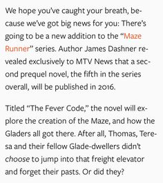 THE FEVER CODE BY JAMES DASHNER. Or did they?' OMG WE ALL KNOW WHICH GLADER HE'S TALKING ABOUT