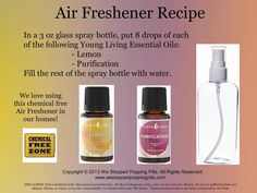 All Natural Air Freshener In a 3 oz. glass spray bottle add: 10 drops Lemon and 1 drops Purification Essential Oil. Top with water. Or try Orange. #diy #airfreshener