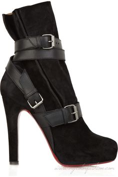 Cheap Christian Louboutin black leather Guerriere 120 wrapped boots shoes  on sale