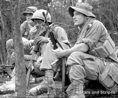 D Co., 1st Battalion, 506th Infantry soldiers relax relax after returning from the field in 1970.