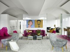 HOUSE TOUR: Inside An Artfully Daring Florida Home - #artfully #daring #florida #house #inside - #OakHardwoodFlooring Dark Interiors, Colorful Interiors, Palm Beach, High Fashion Home, Upholstered Sofa, Florida Home, Elle Decor, Contemporary Furniture, Eclectic Furniture