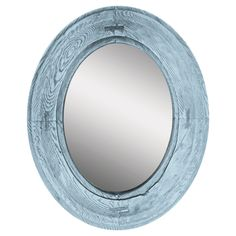 The Blue Villa Mirror I makes a captivating addition to beach style decor. This oval mirror has a distressed wooden frame with a rustic blue finish. Hang it among other neutral tones for a relaxed look. Blue Framed Mirrors, Coastal Mirrors, Rustic Mirrors, Oval Mirror, Wood Mirror, Wall Mounted Mirror, Rustic Blue, Rustic Wood, Tuscan Style