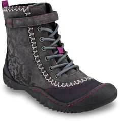 The Srina is an ultra-feminine all-terrain outdoor boot. With fun color-pops and a self-colored stencil design on the upper this shoe is fashion-forward.  Laces run all the way to the top of the boot where there is an adjustable Velcro strap for added support. A faux-fur lining will keep your feet warm while a heel and toe bumper protects you from the elements. Take the Srina on your next cold-weather adventure!