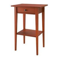 HEMNES Nightstand - red - IKEA with black iron bed and red tall dresser