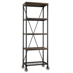 Inspire by factory or industial design this bookcase feature cross back, decorative wheels and sturdy metal base. Is an elegance and charming bookcase to ...