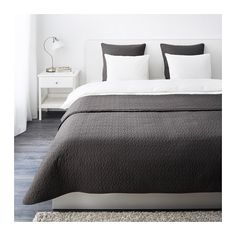 IKEA - ALINA, Bedspread and 2 cushion covers, Queen/King, , Extra soft since the bedspread and cushion cover are quilted.The cushion cover is easy to remove since it has a concealed zipper.Packaging designed as a storage bag. Easy to protect, transport and store the product.