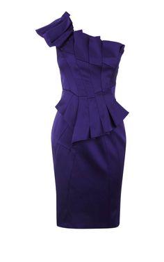 Karen Millen Asymmetric Satin Dress, love the cut, love the color