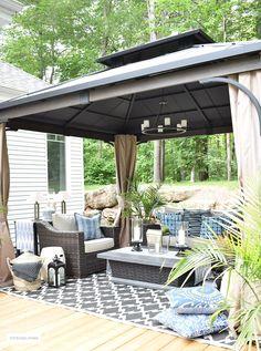 Resin Patio Furniture – Robust Furniture Ranges For Outdoor Areas Outdoor Gazebos, Backyard Gazebo, Backyard Retreat, Outdoor Areas, Backyard Landscaping, Gazebo On Deck, Pergola Patio, Landscaping Ideas, Gazebo Chandelier
