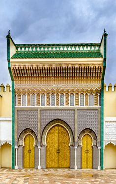 Beautiful Golden Doors of the Royal Palace in Fez, Morocco