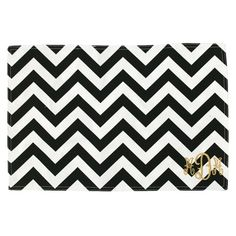 black and white chevron placemat from luxury monograms, $45