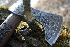 Viking Axe, Wood Cutting, Blacksmithing, Weapons, Kustom Kulture, Mythology, Design, Vikings, Blacksmith Shop