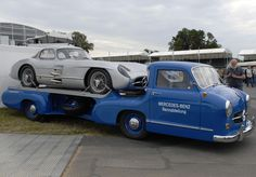 A rather super Mercedes-Benz 300 SL Gullwing and Transporter at the Goodwood Festival of Speed 2014