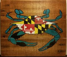 Maryland State Flag Blue Crab Wood Sign Handcrafted And Hand