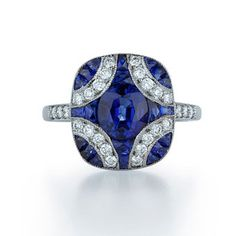 Style 28004S, 18k white gold engagement ring with diamonds and sapphires, Kwiat