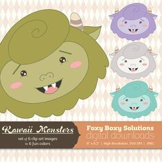 Kawaii Monsters Clip Art Pack: Set of 6 by FoxyBoxyDigital on Etsy